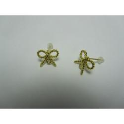 Copper Ear-Pin Ribbon  Shape  16x13   mm,    Gold  Color Plated  - 2 pcs