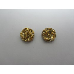 Round Resin Cabochon Druzy 12  mm  Golden  - 2 pcs