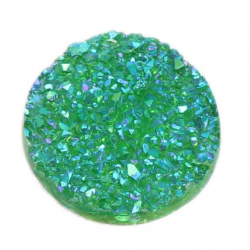 Round Resin Cabochon Druzy 18  mm  Green AB - 1 pc