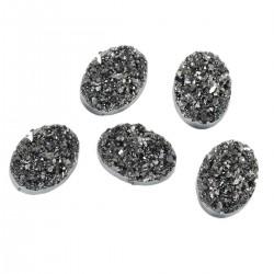 Cabochon Resina  Ovale Druzy 18 x13 mm Hematite - 2 pz