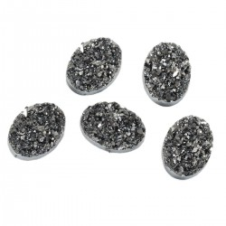 Oval Resin Cabochon Druzy 18x13  mm  Hematite- 2 pcs