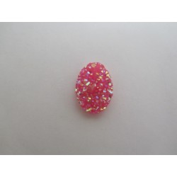 Oval Resin Cabochon Druzy 18x13  mm  Fuchsia AB - 2 pcs
