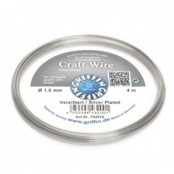 Filo di Rame Griffin Craft Wire  Placcato Argento - 1 mm - 4 m