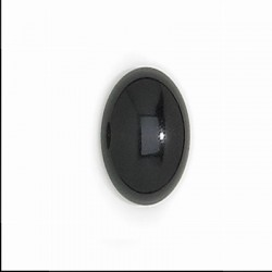 Oval  Glass Cabochons 10x8 mm Opaque Jet  - 2 pcs