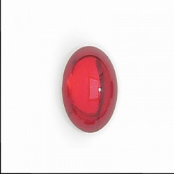 Oval  Glass Cabochons 10x8 mm Transp. Ruby - 2 pcs