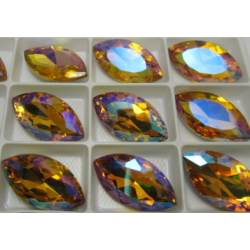Horse Eye Faceted  Glass Cabochon 17x32  mm  Topaz  AB  - 1 pc