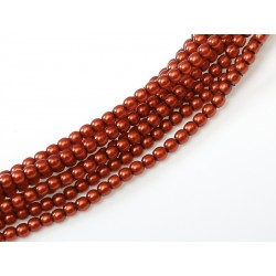 Glass Pearls  4 mm Burnt Orange   - 50 pcs