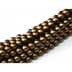 Glass Pearls  4 mm Brown Satin   - 50 pcs