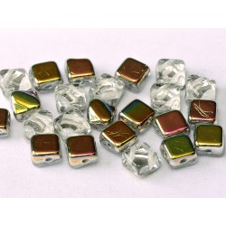 Silky Beads  6x6 mm   Crystal Vitrail  -  30 pcs