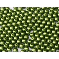 Perle Tonde in Vetro di Boemia  4 mm Pastel Olivine  - 50  Pz