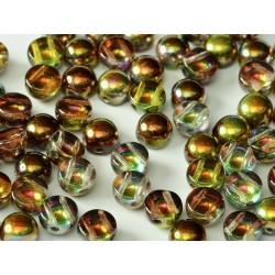 2-hole Cabochon 6 mm Crystal  Magic Green  -  10 pcs