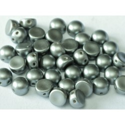 Cabochon Doppio Foro 6 mm Pastel Light Grey  -  10 pz