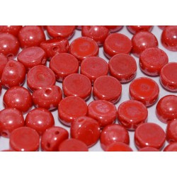 Cabochon Doppio Foro 6 mm  Opaque Red  Shimmer -  10 pz