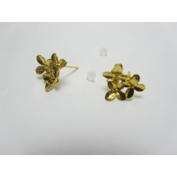 Copper Ear-Pin Triple Flower  15x14   mm, Gold  Color Plated  - 2 pcs