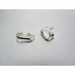 Copper Clip Ear-Pin  16x13 mm,  Silver  Color Plated  - 2  pcs