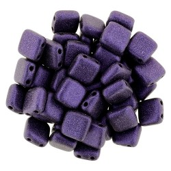 Perline Tile 6 mm  Metallic Suede Purple  -  40 Pz