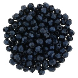 Fire Polished Faceted Round Beads  3 mm  Metallic Suede Dark Blue   - 50 pcs