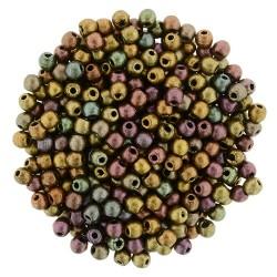 Perle Tonde in Vetro di Boemia  2 mm Mat Met. Bronze Iris - 50  Pz