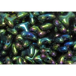 Tee Beads  2x8 mm  Iris Green  -  40 pcs
