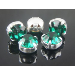 Chatons with setting  ss34  (7,2-7,4mm)  Emerald  -  5 pcs