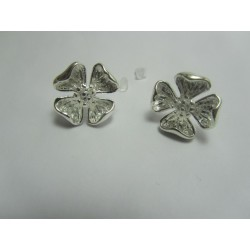 Copper Ear-Pin  Flower  16x16  mm, Silver  Color Plated  - 2 pcs