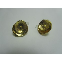 Ear-Pin  Leaves  17x15   mm,  Gold  Color Plated  - 2 pcs