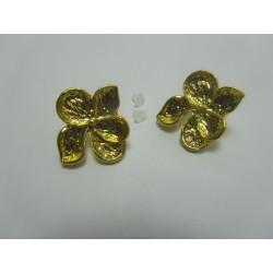 Perno Orecchino  Fiore  24x22  mm   Color Oro  -  2 pz