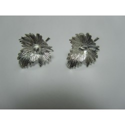Ear-Pin  Flower  23x20  mm Silver  Color Plated  - 2 pcs