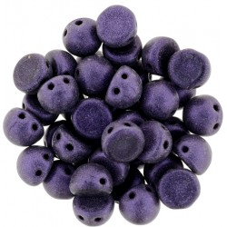 CzechMates Cabochon  2 Holes  7 mm  Metallic Suede Purple  -  10 pz
