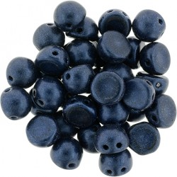 CzechMates Cabochon  2 Holes  7 mm  Metallic Suede Dark  Blue   -  10 pz