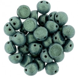 CzechMates Cabochon  2 Holes  7 mm  Metallic Suede Light Green  -  10 pz