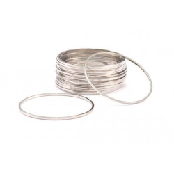 Brass Circle  Link   30 mm , Silver Tone  - 1 pc