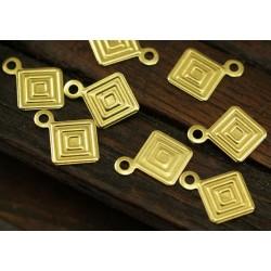 Brass  Square Pendant  7 mm - 5  pcs