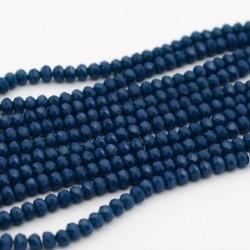 Rondelle Sfaccettate in Vetro 4 x 3  mm  Marine Blue   - 1 Filo da circa  49  cm