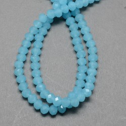 Glass Faceted Oval Beads  Imitation Jade 4 x 3  mm  Turquoise Blue   - 1 Strand of about  49 cm