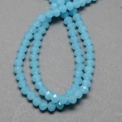 Rondelle Sfaccettate in Vetro Imitazione Giada  4 x 3  mm  Azzurro Turchese    - 1 Filo da circa  49  cm