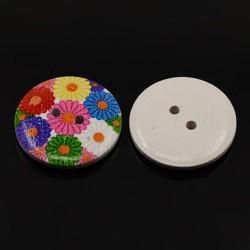 Bottone in legno  28 mm 2 fori  Disegno Fiori   -   2 pz