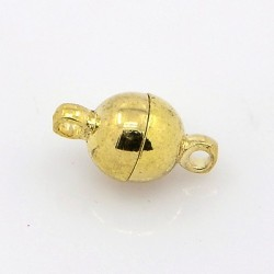 Chiusura Magnetica Rotonda Liscia  6x11,5 mm,  Color Oro  -  1 pz