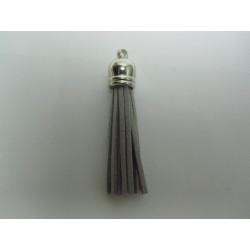 Polyester Tassel Pendant  6 cm  Grey/Silver  - 1 pc