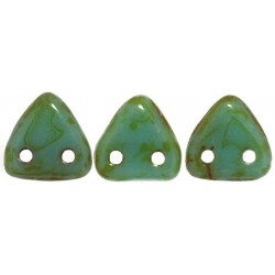 Perline Triangle 6 mm  Opaque Turquoise Picasso  - 5 gr