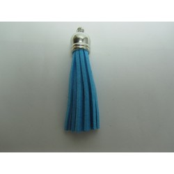 Polyester Tassel Pendant  6 cm Blue Turquoise//Silver  - 1 pc