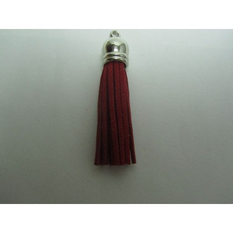 Polyester Tassel Pendant  6 cm Dark Red/Silver  - 1 pc