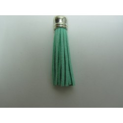 Polyester Tassel Pendant  6 cm Light Green/Silver  - 1 pc