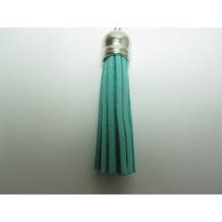 Polyester Tassel Pendant  6 cm Light Blue- Green/Silver  - 1 pc
