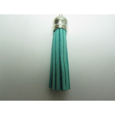 Polyester Tassel Pendant  6 cm Sea Green/Silver  - 1 pc