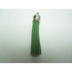 Polyester Tassel Pendant  6 cm Olive Green/Silver  - 1 pc