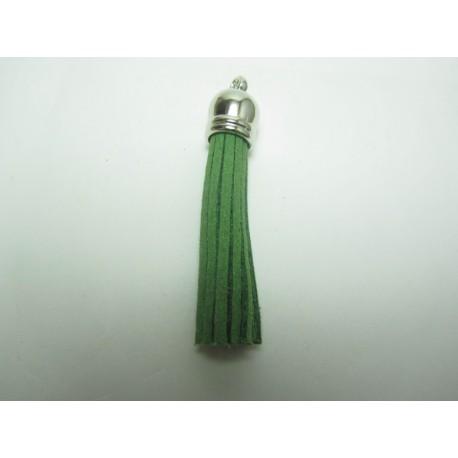 Polyester Tassel Pendant  6 cm Olive Green/Silver  - 1 pc