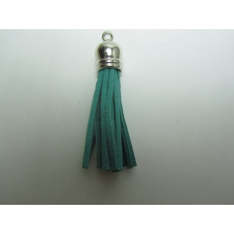 Polyester Tassel Pendant  6 cm Dark Blue- Green/Silver  - 1 pc