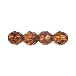 Fire Polished Faceted Round Beads  8 mm  Crystal Picasso - 20 pcs
