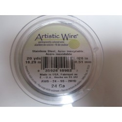 Artistic Wire  0.51 mm  (24 Gauge) Stainless Steel  -  Spool of  18,29 m ( 20yds)